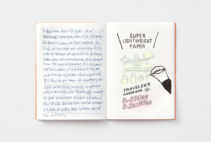 Opened traveler's notebook super lightweight paper with letters and drawings showing to show the paper is see through.